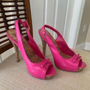 Hot Pink sling back pumps